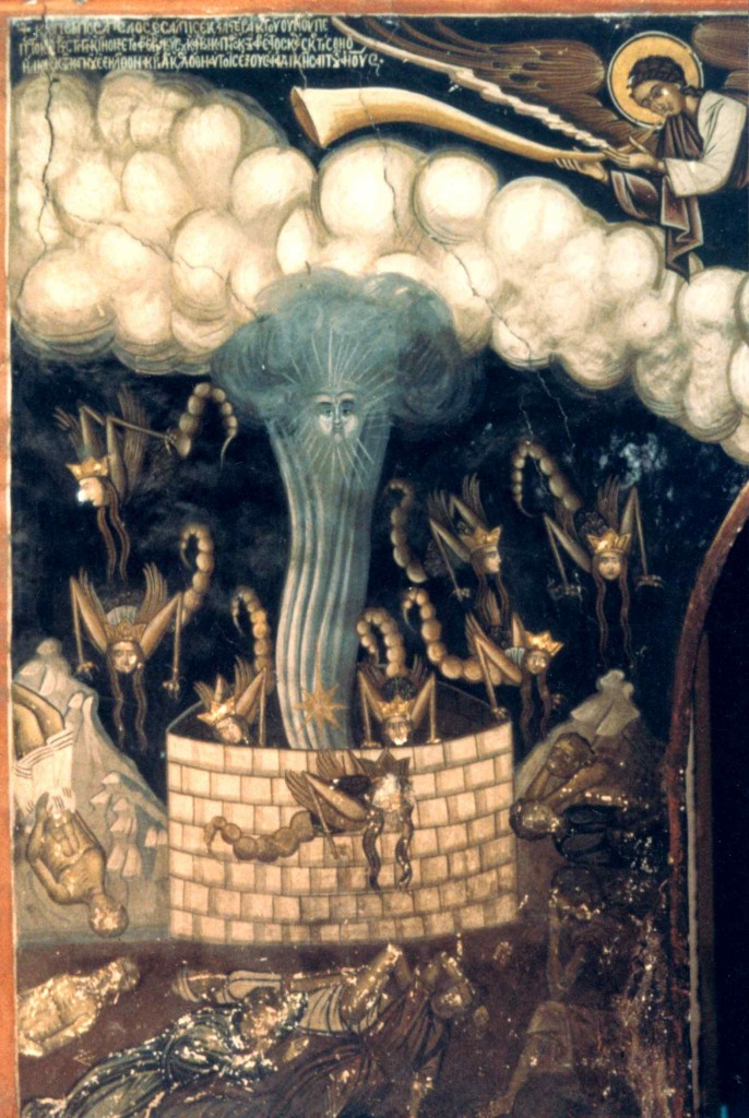 Wall fresco from Dionysiou Monastery, Mt. Athos, Greece depicting Chapter 9 of Revelations