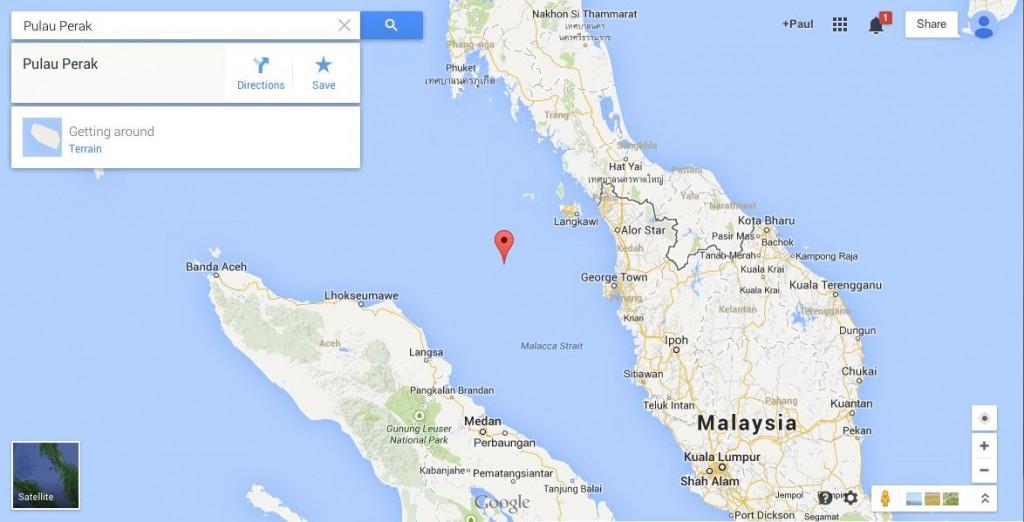 Location of island Pulau Perak