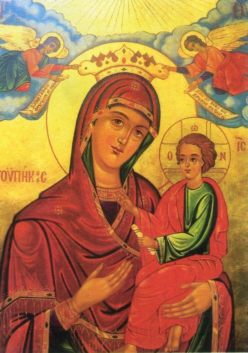 Icon of the Virgin Mary and Child residing in the church of San Nicholas that miraculously sheds tears on occasion.