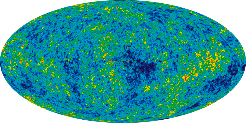 Map of the 3 K Microwave Background Radiation showing temperature fluctuations.