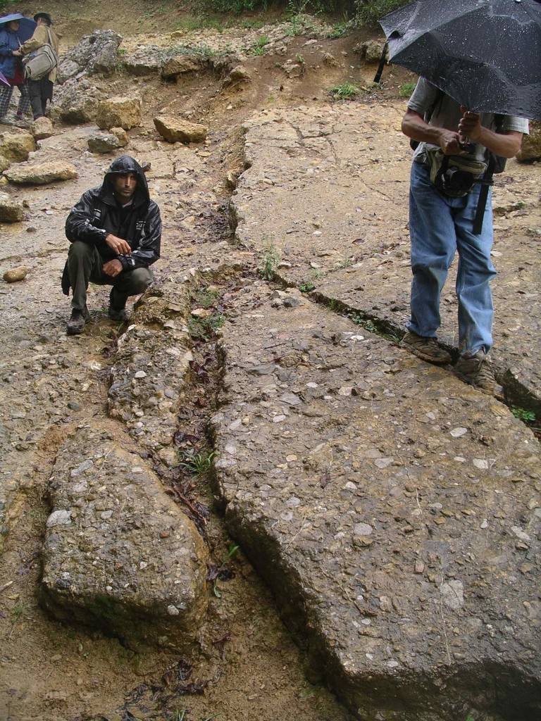 Cement slab layer forming part of the side of the Bosnian Pyramid of the Sun