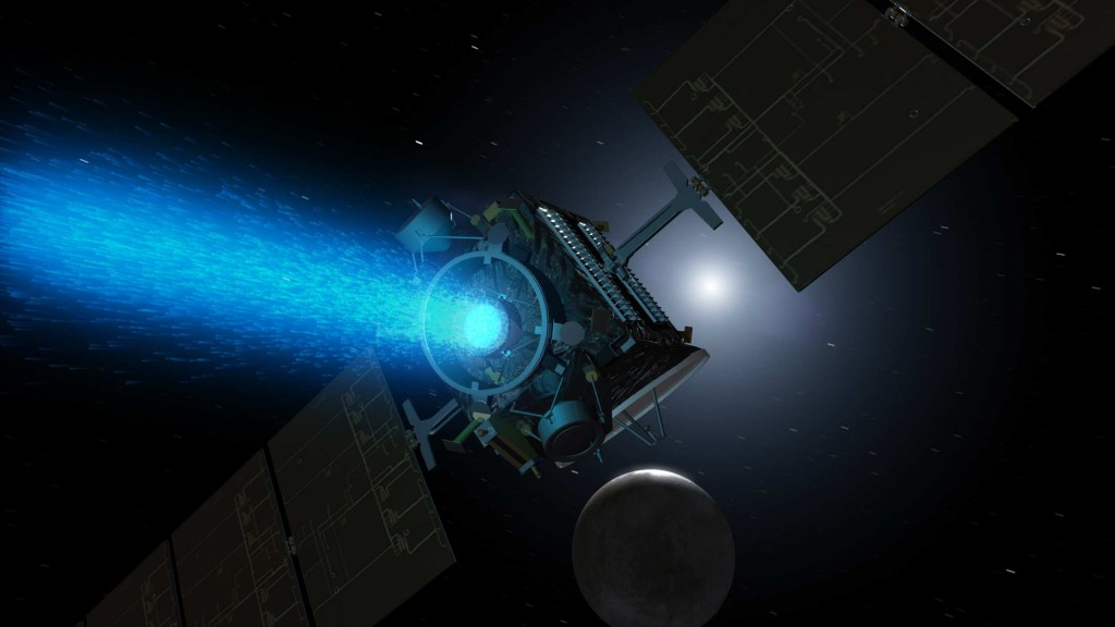 Artist's conception of NASA's Dawn Spacecraft firing its NSTAR xenon ion thruster