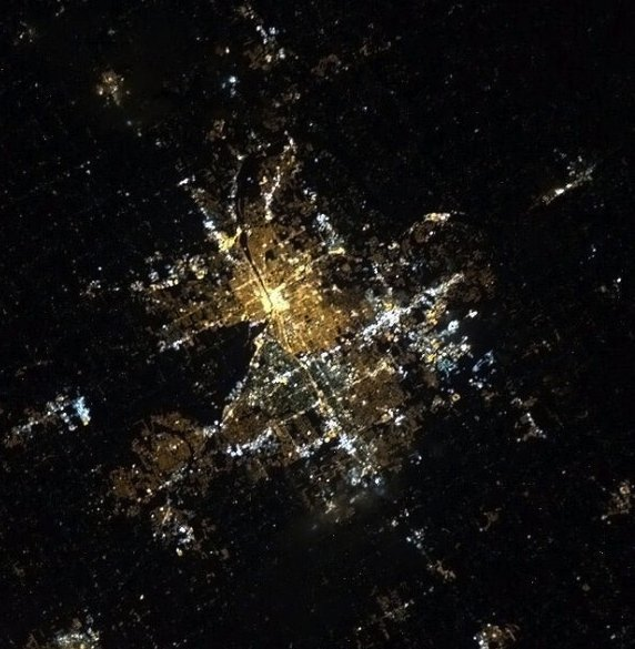 Color version of the same photo of Grand rapids, Michigan. Courtesy of NASA.