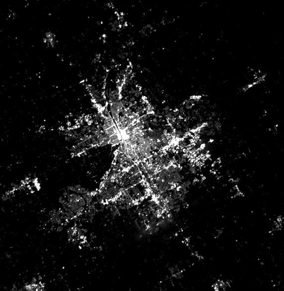 Image of Grand Rapids, Michigan at night taken by the International Space Station at an altitude of 400 km.