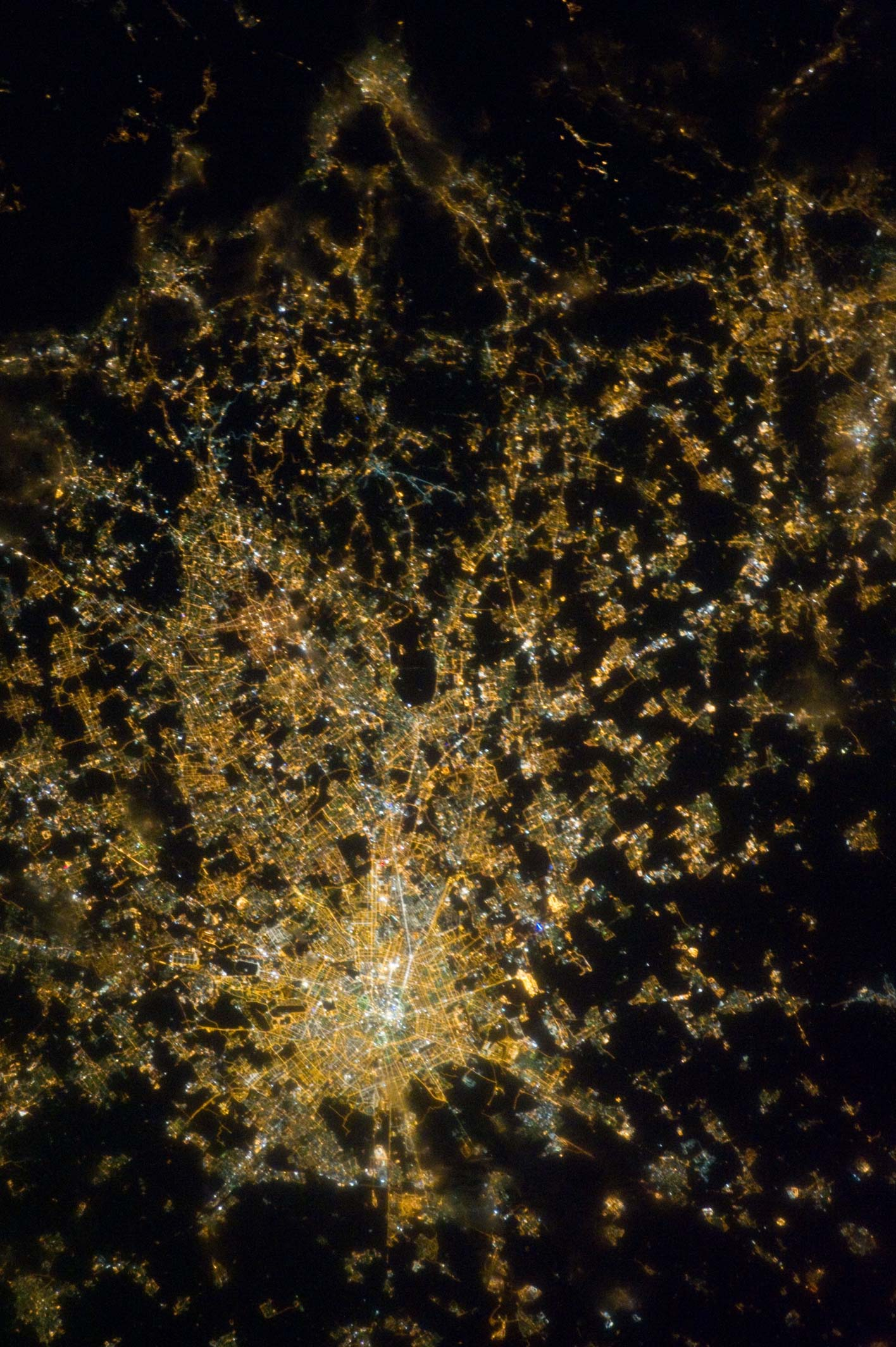 Color version of the same photo of Milan, Italy. Courtesy of NASA.
