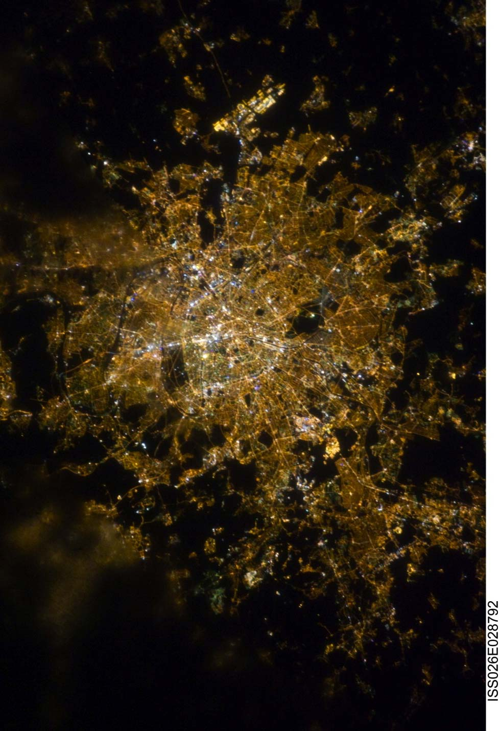 Color version of the same photo of Paris, France. Courtesy of NASA.