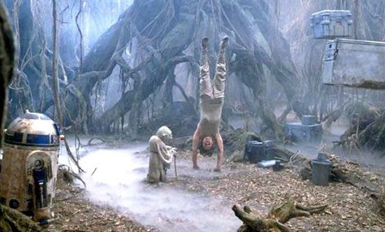 Luke Skywalker being trained by Yoda in use of the Force.