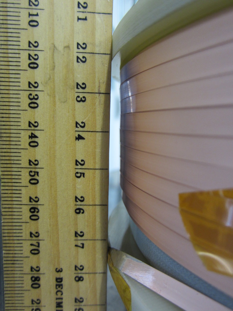 Conical REBCO tape superconducting coil wound by Superpower Inc. on a form with a 3 degree slope.